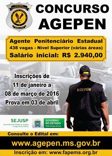 Interessados em concurso da Agepen têm menos de um mês para se inscreverem