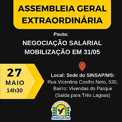 Sinsap convoca filiados para Assembléia para tratar sobre reajuste salarial