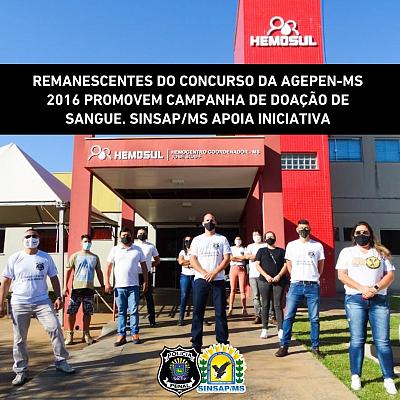 Remanescentes do Concurso da Agepen-MS 2016 promovem campanha de doação de sangue. SINSAP/MS apoia iniciativa